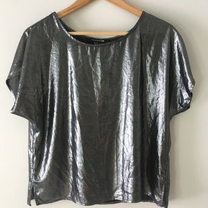 Forever21 Metallic Sheer Oversized Top